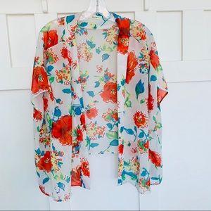 Entro Lightweight Sheer Floral Kimono EUC